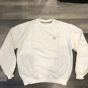 White Champion Power Blend Crew Neck Sweater SZ M